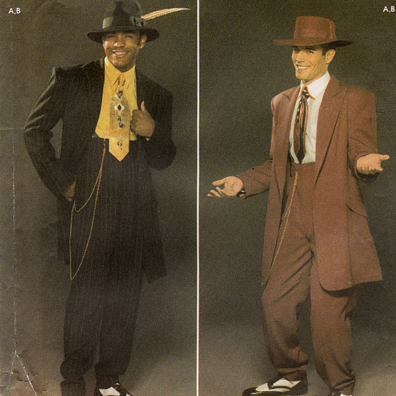 African American Male Trend: The Zoot Suit known to many were first designed by African American tailors/entrepreneurs:  Known for its extravagant design, and was worn by African American  jazz singers and trumpeters entertainers: and swing dancers that w Il_57010