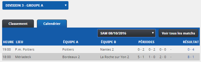 Division 3 :  2016-2017 Rysult11