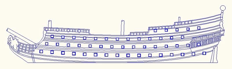 La Reine - vaisseau de premier rang au 1/90 ème Rd11
