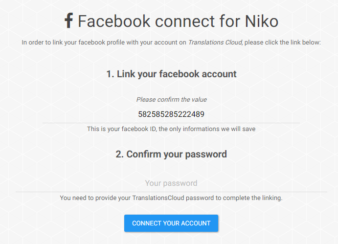 Facebook connect: link your account Facebo20