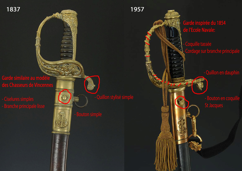 Sabres d'officier de marine : 1837, 1853, 1870, 1891, 1957 Sans_t10