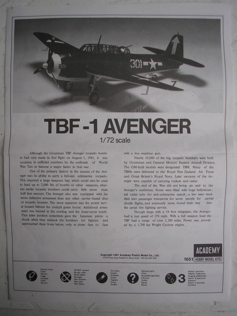 [ACADEMY] GRUMMAN TBF-1 AVENGER 1/72ème Réf 1651 Academ13