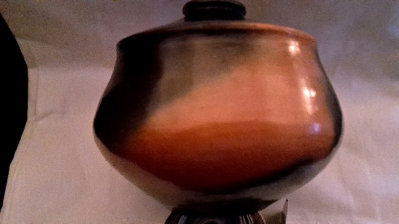 orange and black raku pot - Mystery VK mark  20160912
