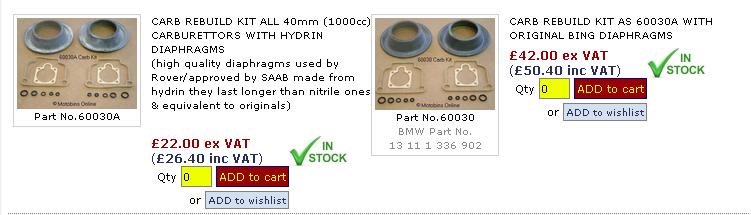 kit carbu  choix vendeur et choix pièces contenues dans kit.. Mw1mb10