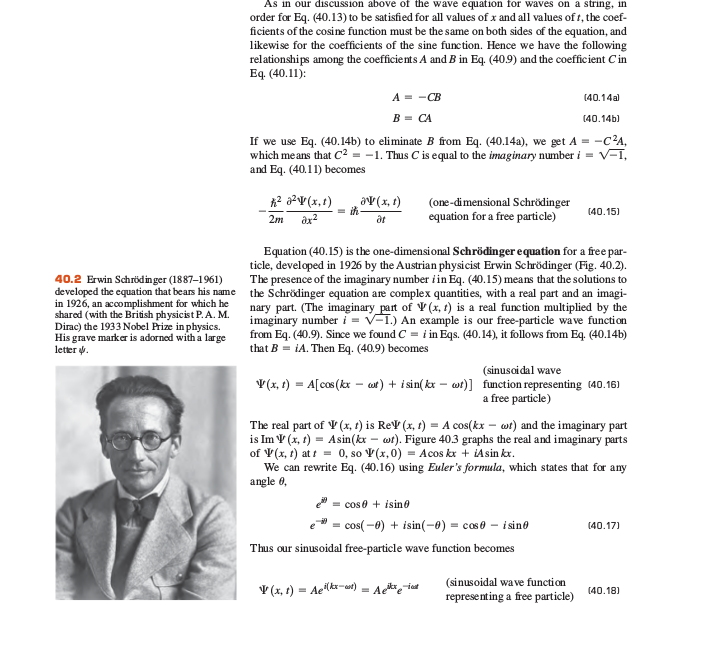 Why is the wave function a complex number Sc312