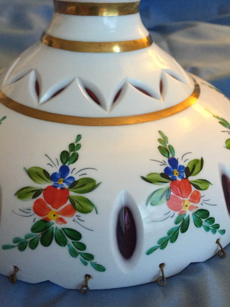 Bohemian Overlay Cut to Pink-Please tell me - Lamp Shade or Compote!? Ls210