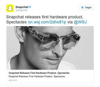 Snapchat lancia gli Spectacles! Twit10