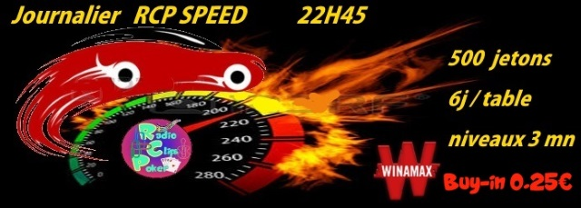 Tournoi RCP Speed sur WINAMAX buy-in 0.25€ a 22h45 le 08/10 Journa10