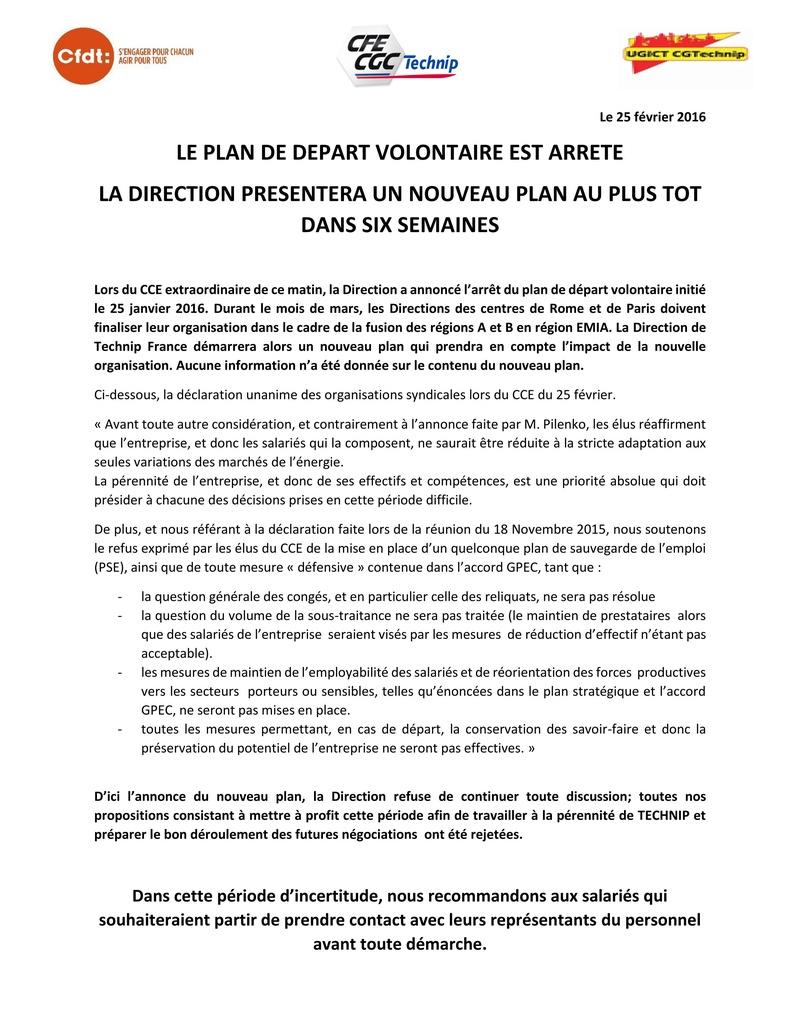 (2016-02-25) - LE PLAN DE DEPART VOLONTAIRE EST ARRETE. LA DIRECTION PRESENTERA UN NOUVEAU PLAN AU PLUS TOT DANS SIX SEMAINES 2016-011