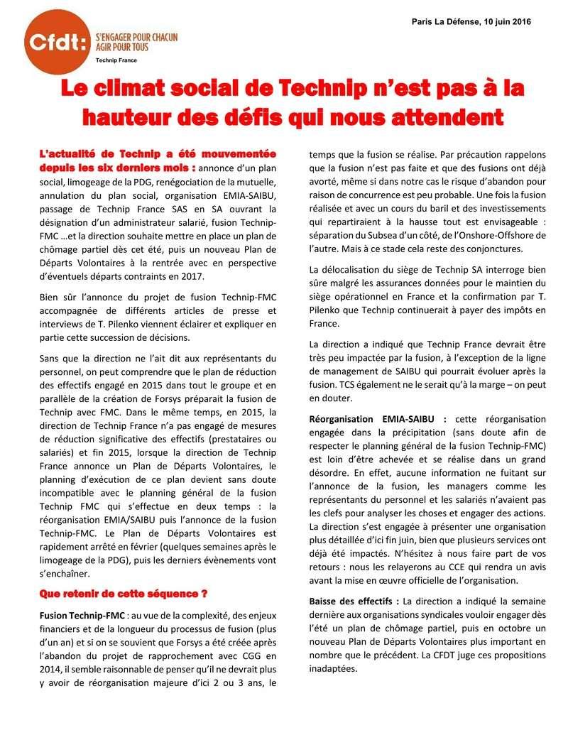 (2016-06-10) - LE CLIMAT SOCIAL DE TECHNIP N'EST PAS À LA HAUTEUR DES DÉFIS QUI NOUS ATTENDENT  2016-021