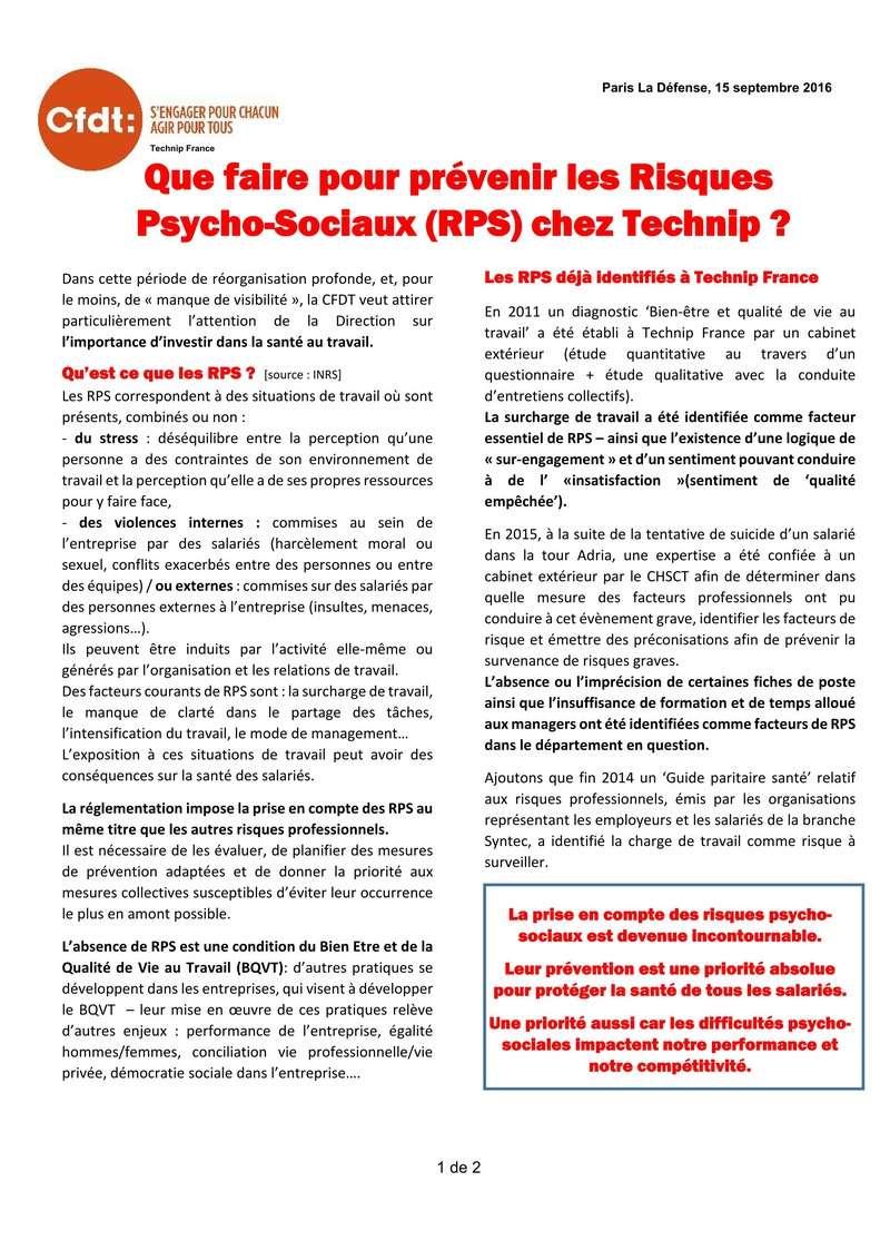 (2016-09-15) - QUE FAIRE POUR PRÉVENIR LES RISQUES PSYCHO-SOCIAUX (RPS) CHEZ TECHNIP ?  2016-027