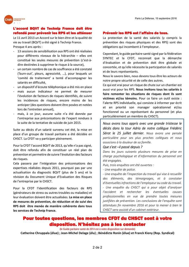 (2016-09-15) - QUE FAIRE POUR PRÉVENIR LES RISQUES PSYCHO-SOCIAUX (RPS) CHEZ TECHNIP ?  2016-028