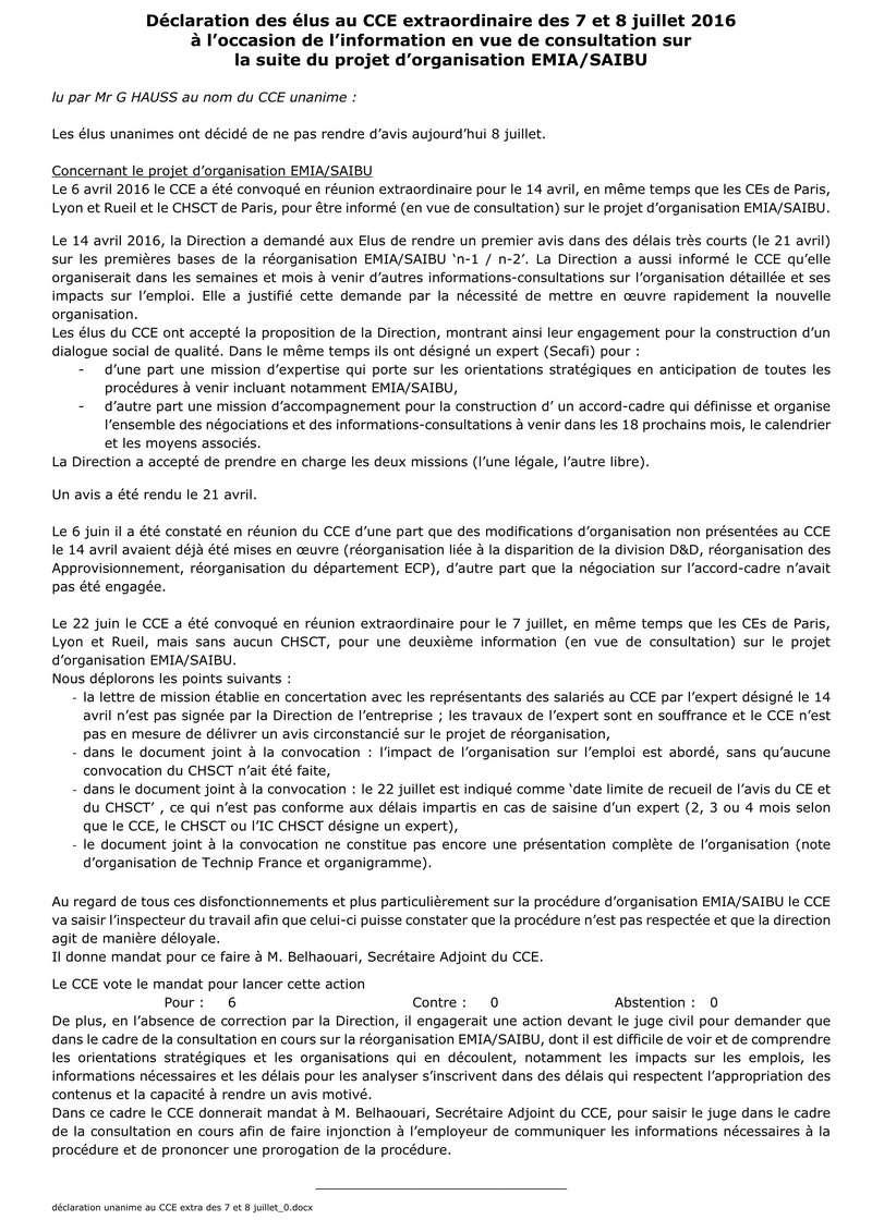 (2016-07-07) - DÉCLARATION DES ÉLUS AU CCE EXTRAORDINAIRE DES 7 ET 8 JUILLET 2016 À L'OCCASION DE L'INFORMATION EN VUE DE CONSULTATION SUR LA SUITE DU PROJET D'ORGANISATION EMIA/SAIBU  Dyclar15