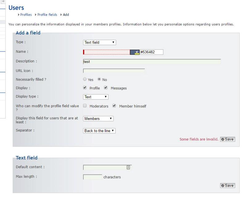 Profile Field Management Profil11