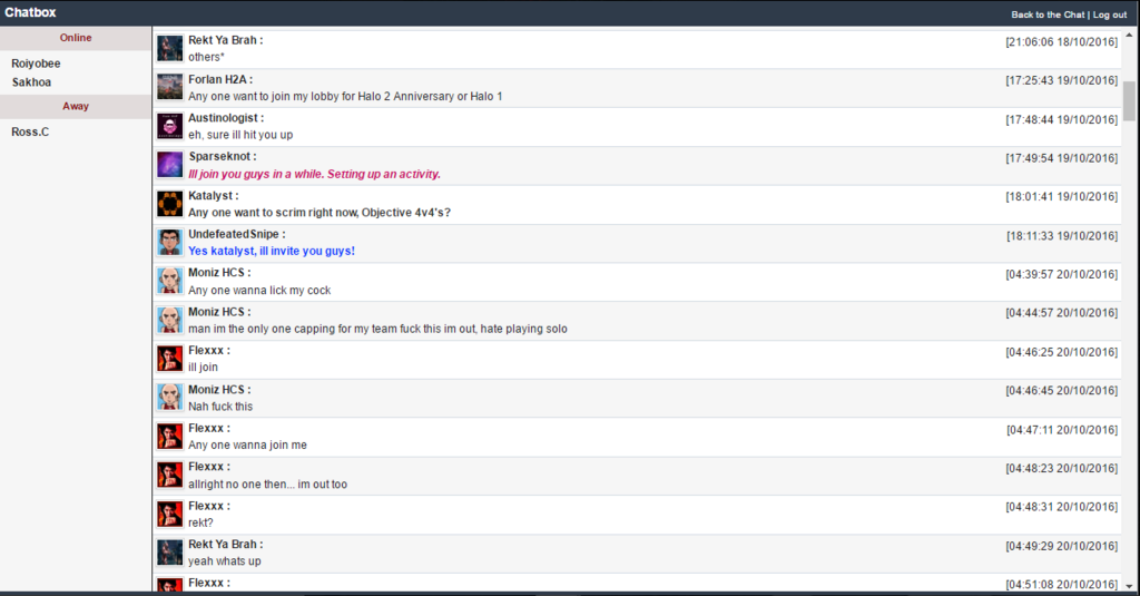 Random Chatbox Archive History - October 2016 Chat Box Archive...  B11