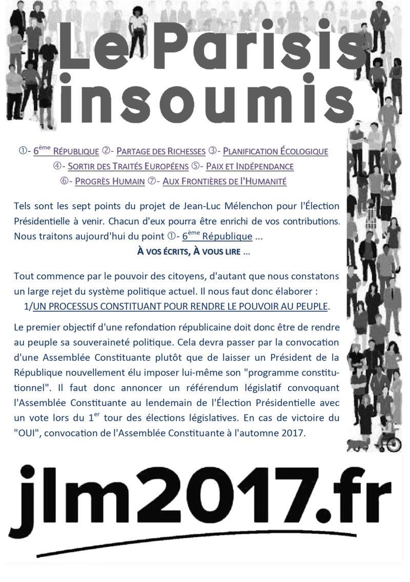 TRACT N°1 LE PARISIS INSOUMIS - POINT SUR LA 6 ÈME RÉPUBLIQUE A9r15610