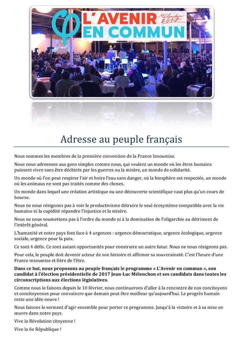 ADRESSE AU PEUPLE FRANÇAIS - 1 ÈRE CONVENTION DE LA FRANCE INSOUMISE À LILLE Adress10