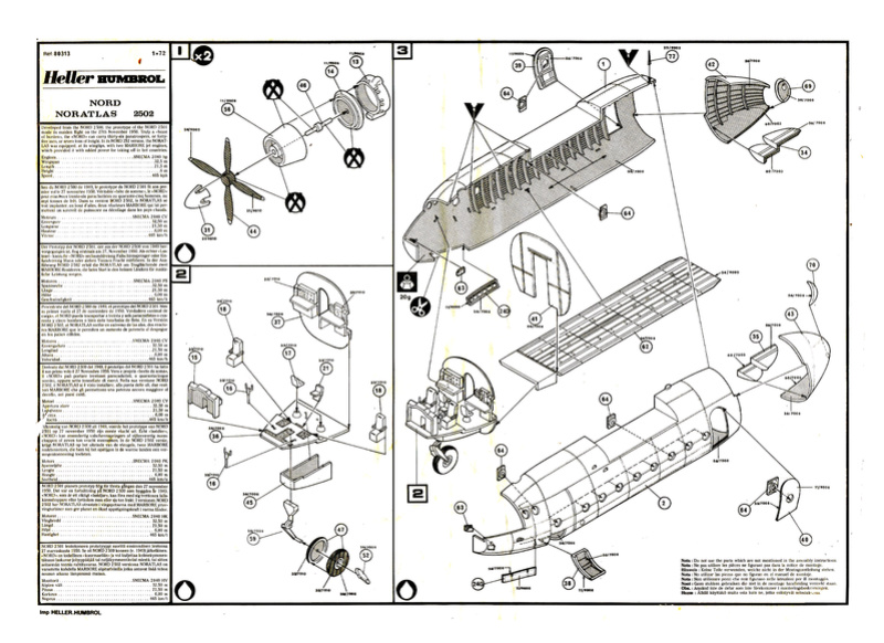 NORD 2502 NORATLAS U.A.T.  1/72ème Réf 80133 Notice Plan_e10