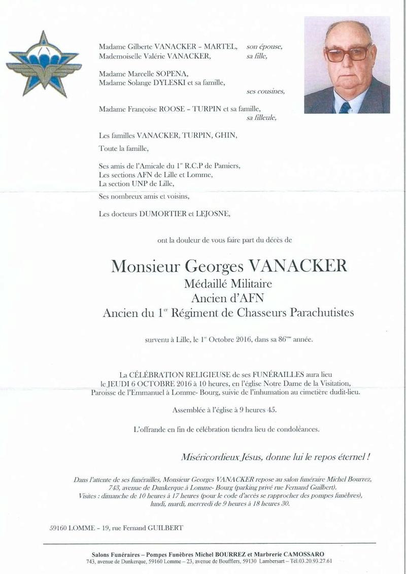 Georges VANCKER acien  du 1er RCP, ancien d'AFN est décédé le 1er octobre 2016 Deces_10