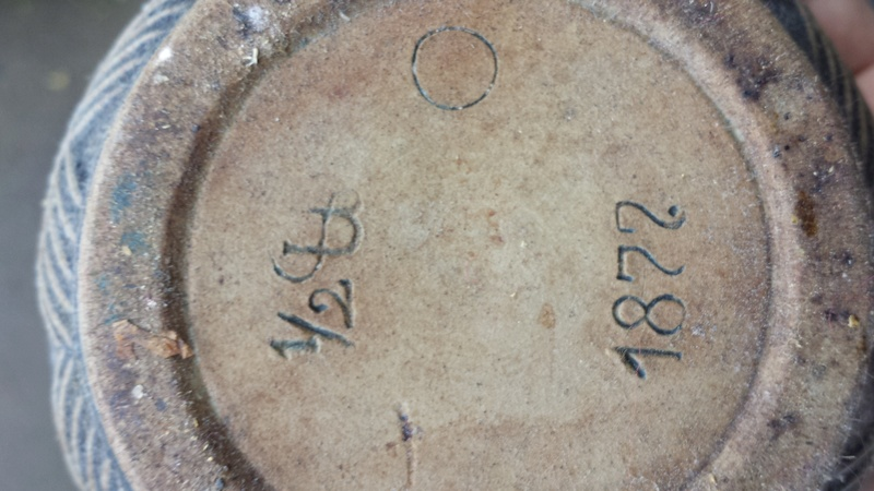Old ceramic dish with lid with 1877 and unknown marks on bottom, Thanks 20161010