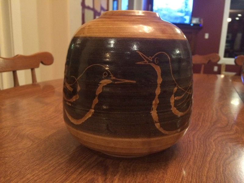 Last piece, another vase? Yellowish pottery with birds Image22