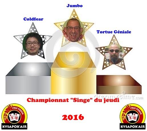 """Résultat Championnat """"Singe"""" février à juin 2016 310"""