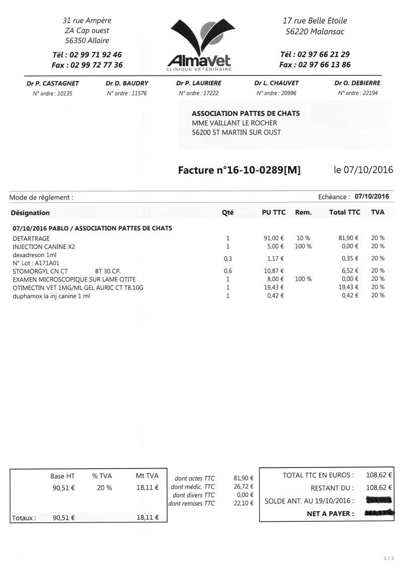 aide factures vétérinaire pour pattesdechats Ccf19110