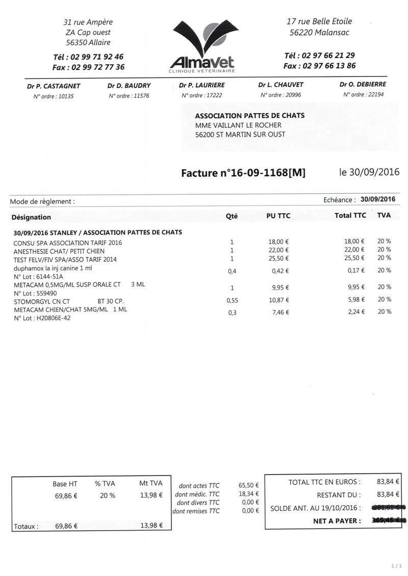 aide factures vétérinaire pour pattesdechats Ccf19116