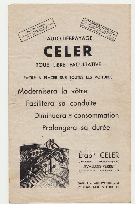 Auto-débrayage CELER, Ets CELER à Levallois-Perret 1938... Auto-d11