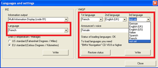 Changement de langue GPS MKII après MAJ 510