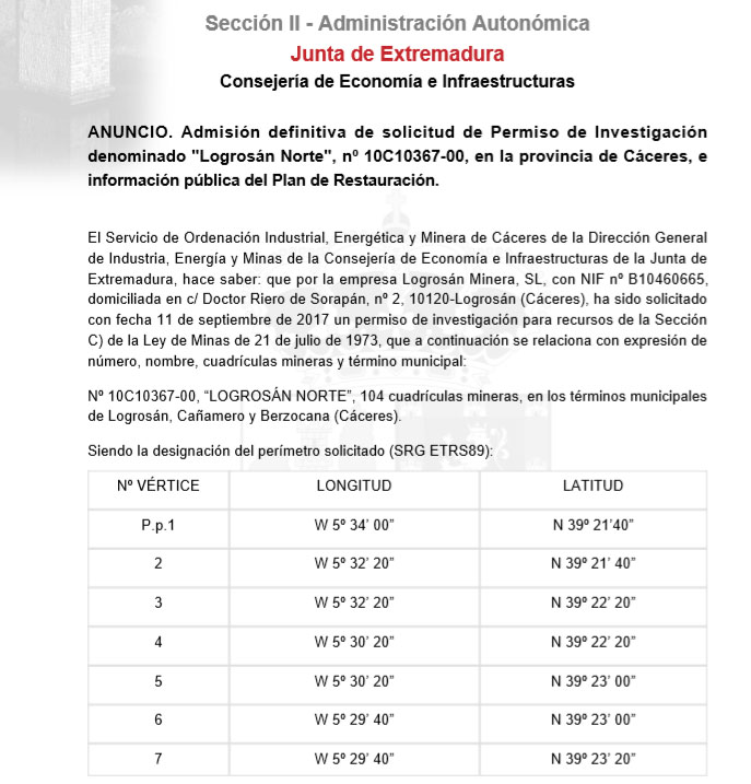 Prospecciones mineras en Cañamero Boe10