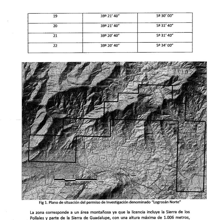 Prospecciones mineras en Cañamero Map310