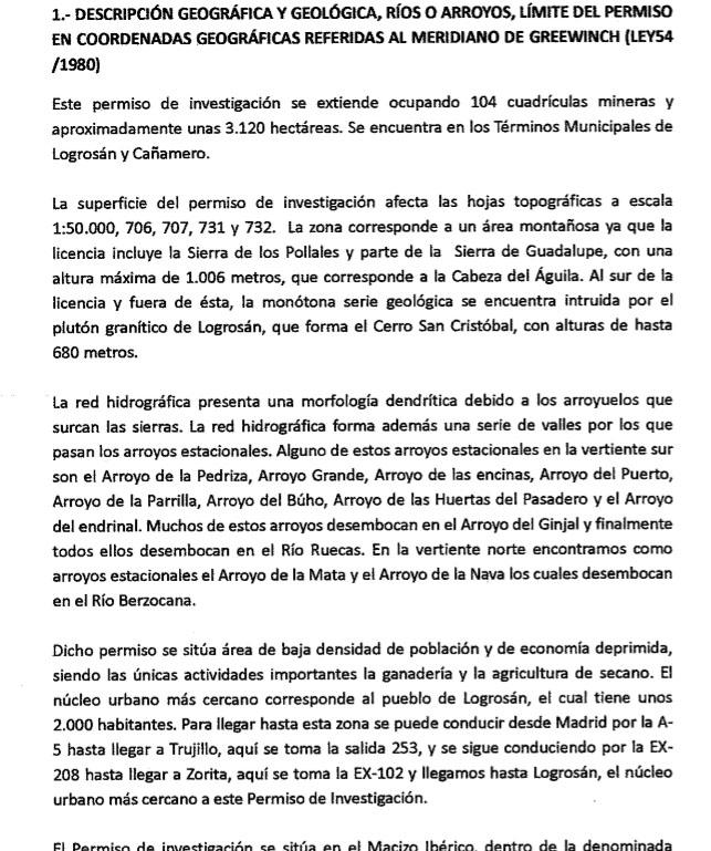 Prospecciones mineras en Cañamero Map410