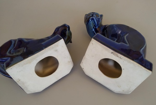 Pair Art Deco Blue Flambe Glaze Porcelain Cat Bookends French? Img_2020
