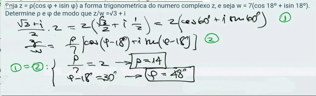 !!! a materia é numeros complexos forma trigonometrica  Scre1467