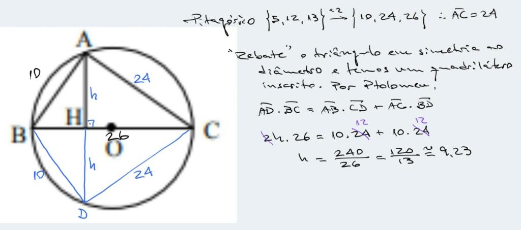 Triângulo inscrito em circunferência Scree220