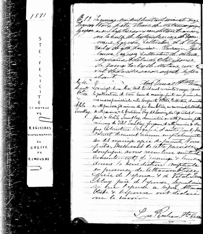 Recherche Naissance de Adèle Trembay? M_187110
