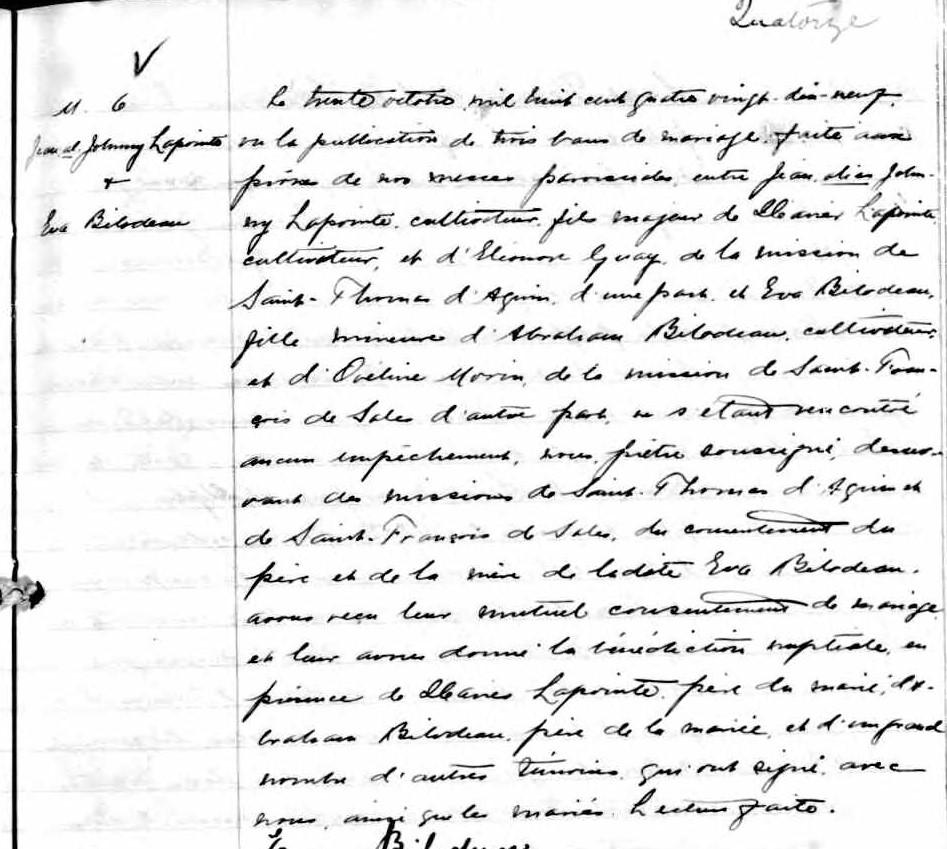 LAROUCHE Fernand & LAPOINTE Christiane - Date de Mariage M_189914
