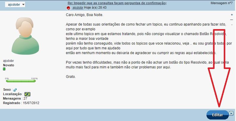 [Resolvido]Impedir que as consultas façam perguntas de confirmação; Passo110