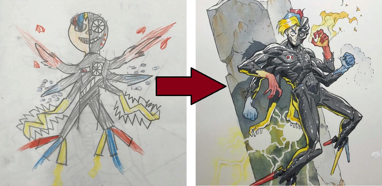 繪師老爸把孩子的塗鴉畫成了動畫裡的角色 Ss10