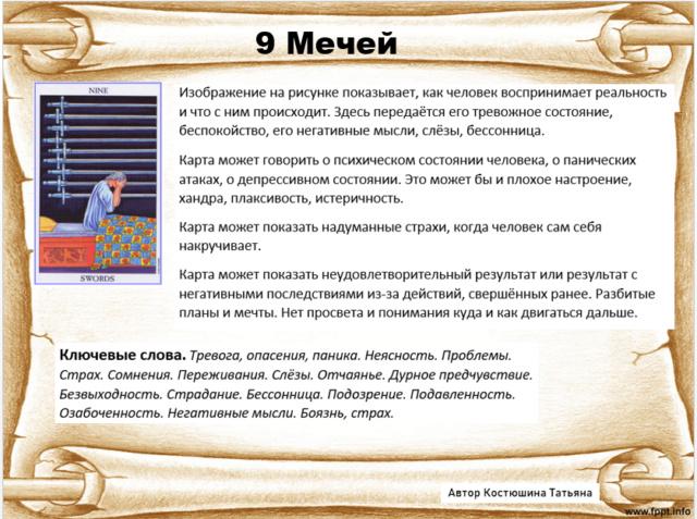 9 Мечей колода Райдера Уэйта E30