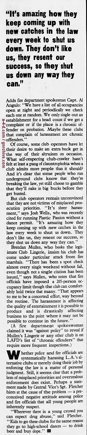 1985.11.22 - L.A. Weekly - L.A. Dee Da On The Streets [Mention of police raid at show] 1986_039