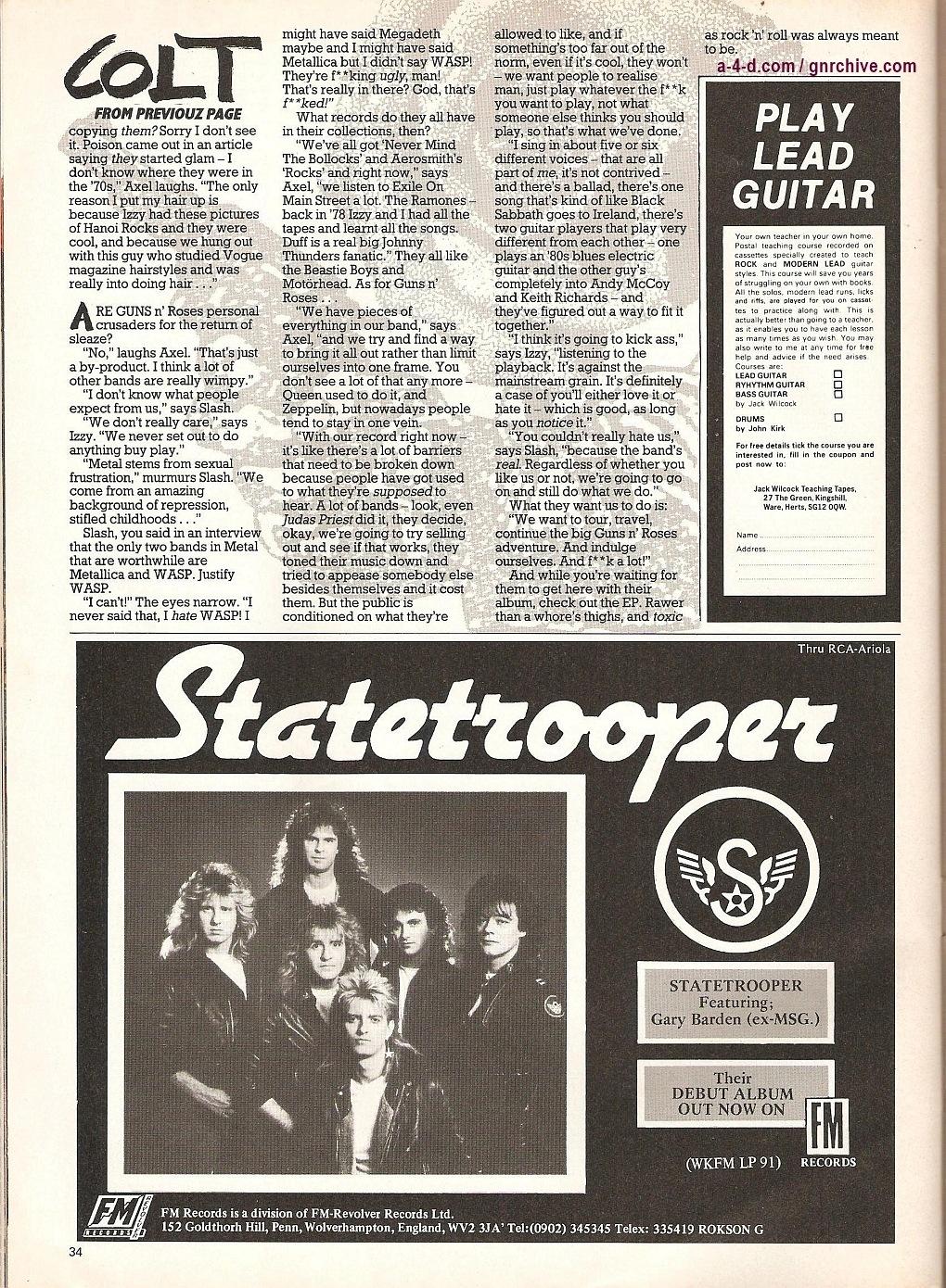 """1987.06.11 - Kerrang! - """"Colt Heroes"""" 1987-014"""