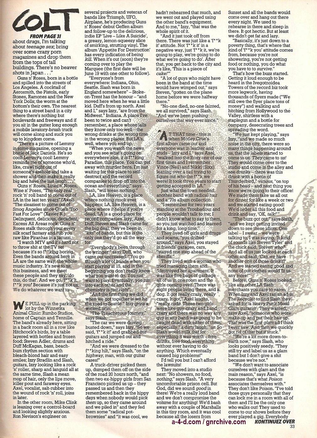 """1987.06.11 - Kerrang! - """"Colt Heroes"""" 1987-015"""
