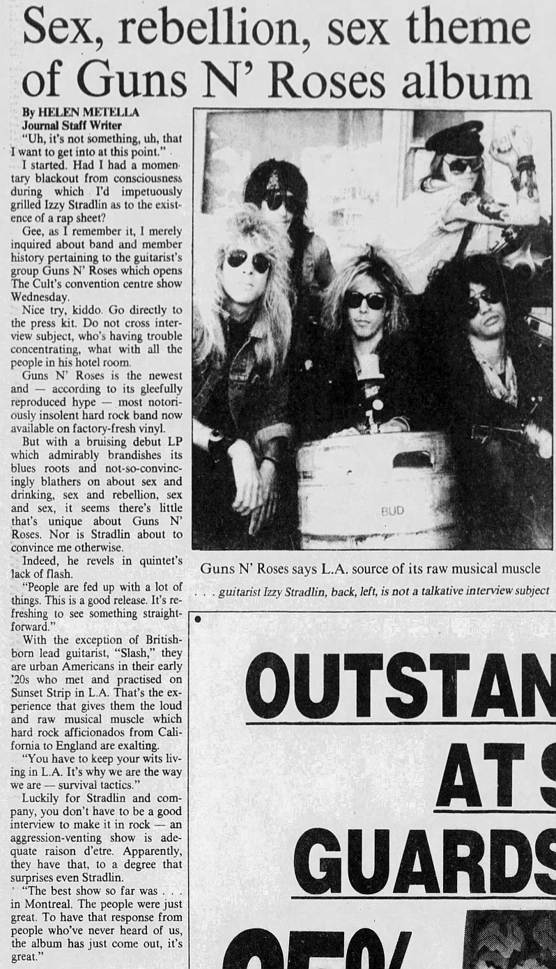 1987.08.25 - Edmonton Journal - Sex, rebellion, sex theme of Guns N' Roses album (Izzy) 1987_010
