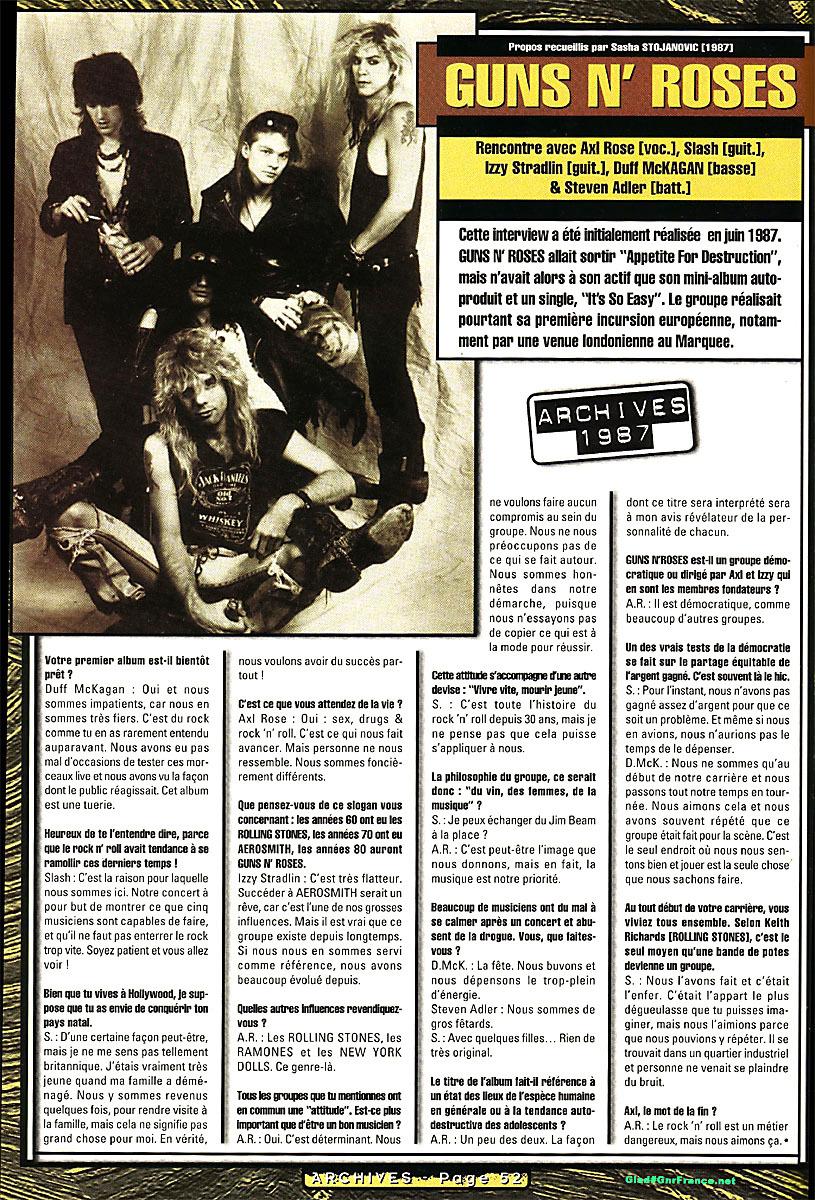 1987.06.DD - Unknown French publication - Guns N' Roses (Axl, Slash, Izzy, Duff, Steven) 1987_019
