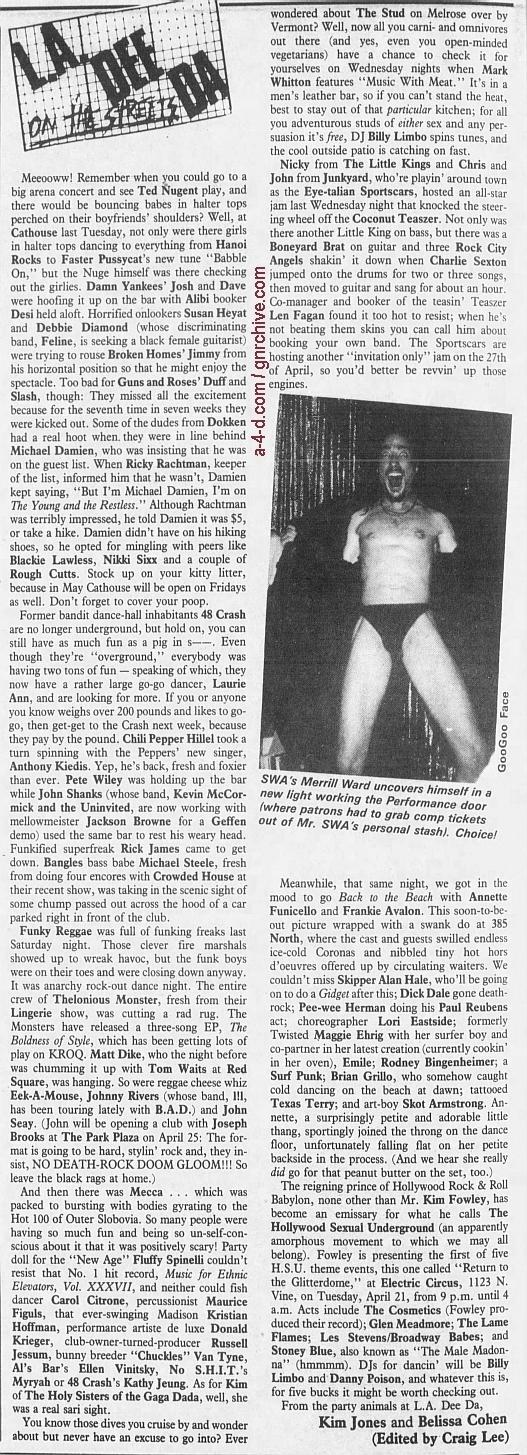 1987.04.17 - L.A. Weekly - L.A. Dee Da (Slash, Duff) 1987_027