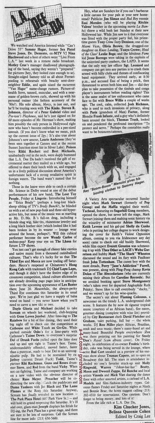 1987.06.12 - L.A. Weekly - L.A. Dee Da On The Streets [Brawl at The Cathouse] 1987_028