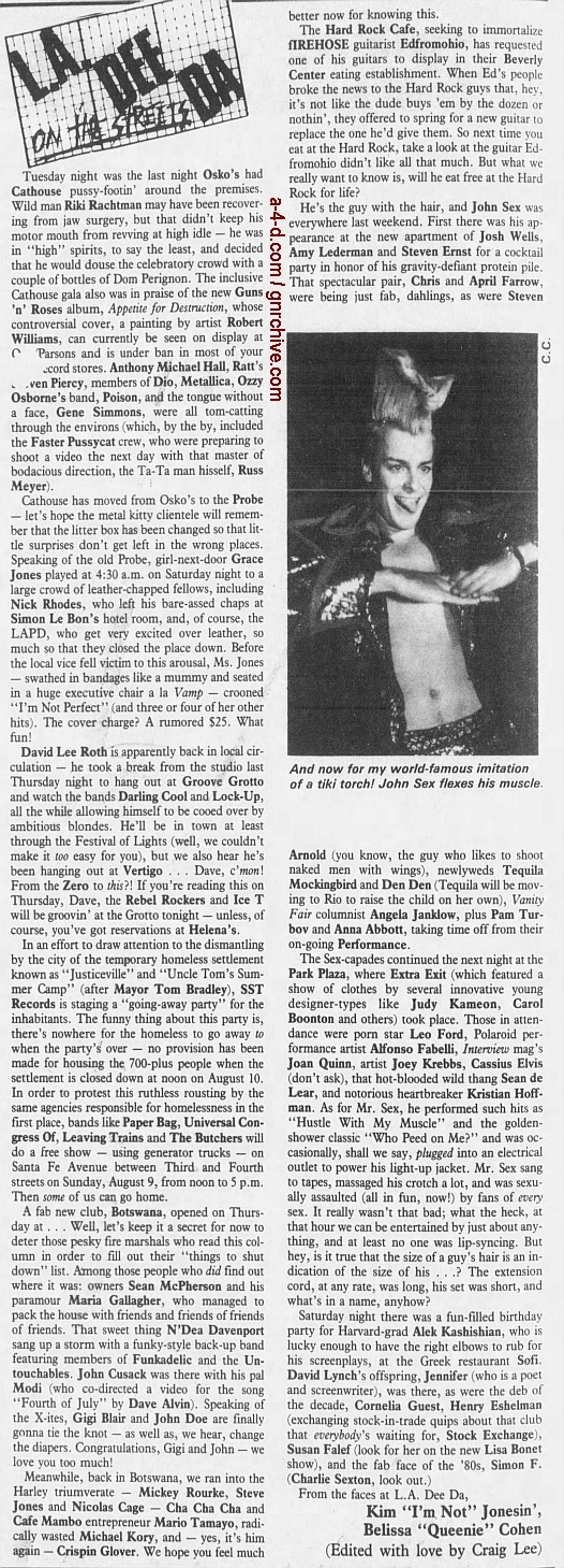 1987.08.07 - L.A. Weekly - L.A. Dee Da On The Streets [Party at the Cathouse] 1987_032