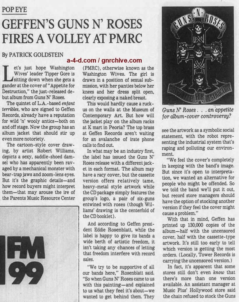 1987.08.16 - Los Angeles Times - Geffen's Guns N' Roses Fires A Volley at PMRC  1987_040